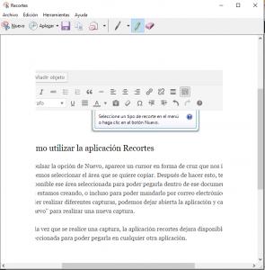 Ejemplo de captura de pantalla realizada con Recortes